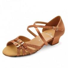 Бальные туфли Eckse Таис (золото кожа с напылением блёстками)