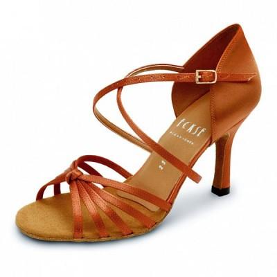 Туфли латина Eckse Алонца (коньяк сатин, каблук 7 см)