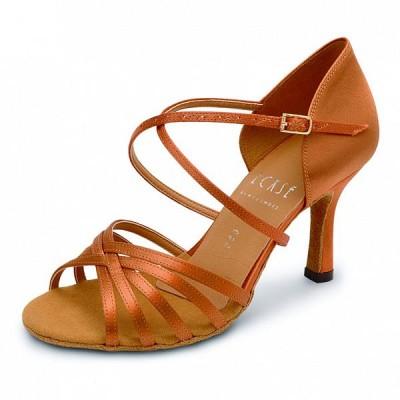 Туфли латина Eckse Кристи (коньяк сатин, каблук 5 см)