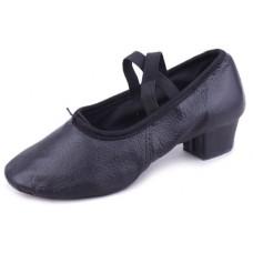 Балетки с каблуком для танцев чёрные БК11