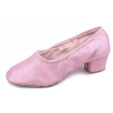 Балетки с каблуком для танцев Китай розовые/телесные БК11