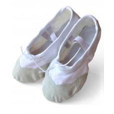 Балетки для танцев с кожаным носком белые