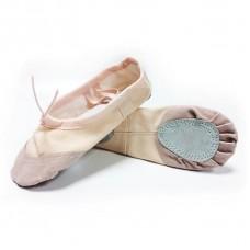 Балетки для танцев с кожаным носком БК розовые