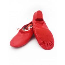Балетки с каблуком для танцев БК11 красные