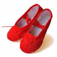 Балетки для танцев с кожаным носком красные Китай БК-6