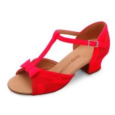 Бальные туфли Eckse Минни (красный гипюр)