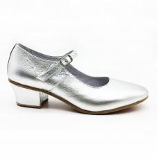 Туфли народные Вариант серебро обтяжной каблук