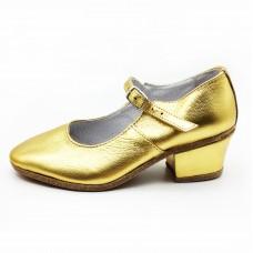 Туфли народные Вариант золото обтяжной каблук